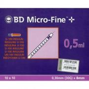 Becton Dickinson Σύριγγες Ινσουλίνης 30G x 8 mm 0,5 ml Micro-Fine 100ΤΕΜ. REF:324825